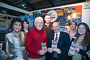 NO FEE PICTURES<br /> 23/1/16 Minister for Tourism Michael Ring and Maureen Ledwith, organiser of the Holiday World Show at the Louth Tourism stand at the Holiday World Show at the RDS in Dublin. Picture: Arthur Carron