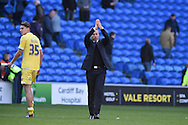 Millwall's interim manager Neil Harris thanks the Millwall fans at the end of the match after seeing his team draw 0-0.   Skybet football league championship, Cardiff city v Millwall at the Cardiff city stadium in Cardiff, South Wales on Saturday 18th April 2015<br /> pic by Andrew Orchard, Andrew Orchard sports photography.