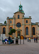 Stockholm, Sweden -- July 16, 2019.  Photo of the Church of St. Nicholaus, informally known as the Stockholm Cathedral.