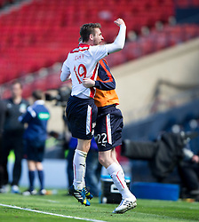 Falkirk's Luke Leahy. Falkirk's players cele the win.<br /> Hibernian 0 v 1 Falkirk, William Hill Scottish Cup semi-final, played 18/4/2015 at Hamden Park, Glasgow.