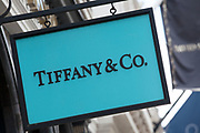 Sign for high end jewellery store and exclusive brand Tiffany & Co.