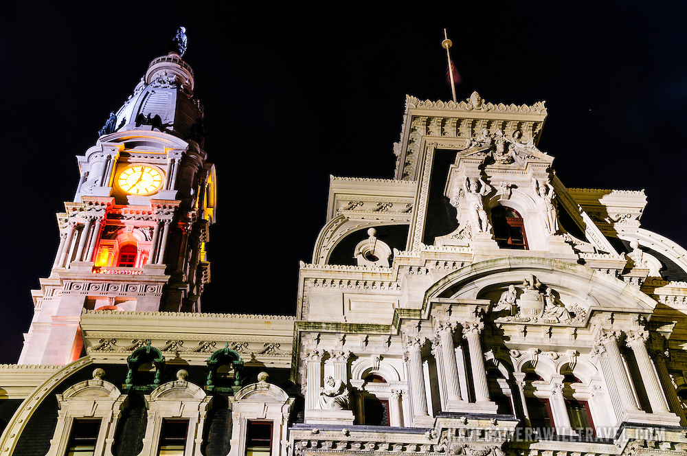 Exterior detail of City Hall in Philadelphia, PA, at night