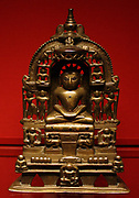 The Thirtankara Kuntunatha, brass with silver and copper inlays, Vasantagarh, Rajasthan, dated 1476. It was commissioned by the merchant Simghaka and consecrated by the monk Lakshmisagarasuri.
