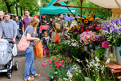 Flower stall at Boxhagener Platz Farmers' Market at  the weekend in Friedrichshain Berlin Germany