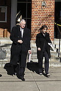 CHARLOTTESVILLE, VA - FEBRUARY 13: Defense attorneys Francis McQ. Lawrence, left, and Rhonda Quagliana, right, walk to the Charlottesville Circuit courthouse for the George Huguely trial. Huguely was charged in the May 2010 death of his girlfriend Yeardley Love. She was a member of the Virginia women's lacrosse team. Huguely pleaded not guilty to first-degree murder. (Credit Image: © Andrew Shurtleff