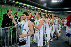 European champions Lihtuania after basketball match between National teams of Lithuania and France in Final match of U20 Men European Championship Slovenia 2012, on July 22, 2012 in SRC Stozice, Ljubljana, Slovenia. Lithuania defeated France 50:49. (Photo by Matic Klansek Velej / Sportida.com)