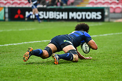 Hendrik Tui of Japan scores a try<br /> <br /> Photographer Craig Thomas<br /> <br /> Japan v Russia<br /> <br /> World Copyright ©  2018 Replay images. All rights reserved. 15 Foundry Road, Risca, Newport, NP11 6AL - Tel: +44 (0) 7557115724 - craig@replayimages.co.uk - www.replayimages.co.uk