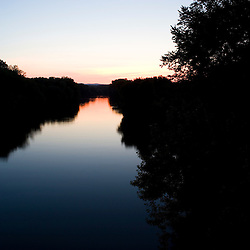 The Connecticut River after sunset in Northampton, Massachusetts.