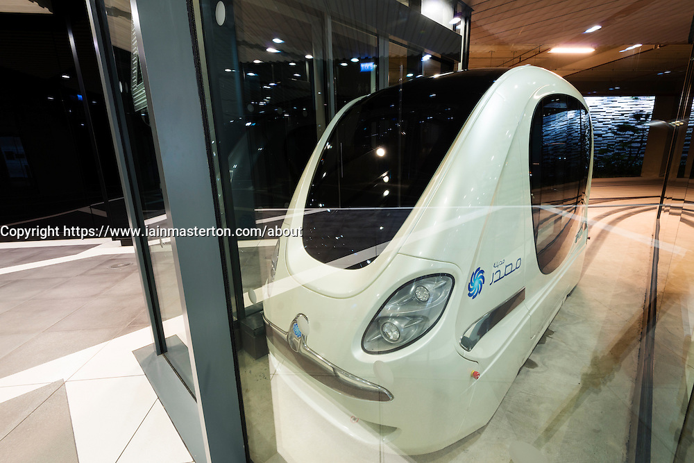 Driverless PRT Personal Rapid Transport Pod cars at Masdar City technical institute in Abu Dhabi United Arab Emirates