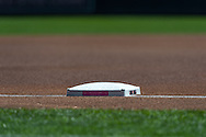 A close up view of one of the bases used on Mother's Day for the Minnesota Twins and Baltimore Orioles game on May 12, 2013 at Target Field in Minneapolis, Minnesota.  The Orioles defeated the Twins 6 to 0.  Photo: Ben Krause
