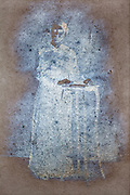 silver mirroring photo portrait of an adult woman standing