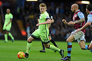 Kevin De Bruyne of Manchester city (l) breaks past Alan Hutton of Aston Villa. Barclays Premier league match, Aston Villa v Manchester city at Villa Park in Birmingham, Midlands  on Sunday 8th November 2015.<br /> pic by  Andrew Orchard, Andrew Orchard sports photography.