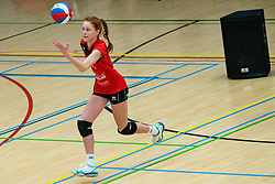 Noa Sonneville in action during the first league match between Laudame Financials VCN vs. Apollo 8 on February 06, 2021 in Capelle aan de IJssel.