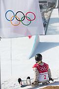Jamie Anderson, USA, during the womens snowboard big air final at the Pyeongchang 2018 Winter Olympics on 22nd February 2018, at the Alpensia Ski Jumping Centre in Pyeongchang-gun, South Korea
