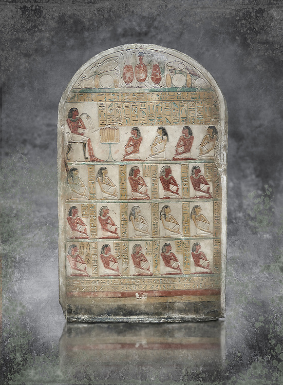 Ancient Egyptian family stele of chief scribe Horhernakht, son of Khety, Middle Kingdom, 2nd half of 12th Dynasty (1850-1759 BC).  Egyptian Museum, Turin. Old Fund cat 1613. .<br /> <br /> Visit our HISTORIC WALL ART PRINT COLLECTIONS for more photo prints https://funkystock.photoshelter.com/gallery-collection/Historic-Antiquities-Photo-Wall-Art-Prints-by-Photographer-Paul-E-Williams/C00002uapXzaCx7Y<br /> <br /> Visit our Museum ART & ANTIQUITIES COLLECTIONS to browse more photo at: https://funkystock.photoshelter.com/p/museum-antiquities