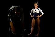 Lexi Funk of the Michigan Wolverines waits to perform in a promotional video at the Crisler Center on November 8, 2018 in Ann Arbor, Michigan.