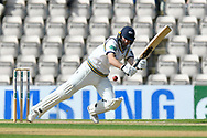 Adam Lyth of Yorkshire is knocked off his feet by a ball which hit his pad which was bowled by Kyle Abbott of Hampshire during the Specsavers County Champ Div 1 match between Hampshire County Cricket Club and Yorkshire County Cricket Club at the Ageas Bowl, Southampton, United Kingdom on 11 April 2019.