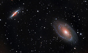 The bright galaxies Messier 82 (Cigar Galaxy, left) and Messier 81 (Bode's Nebula) in constellation Ursa Major.