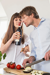 Couple smelling fresh opend wine