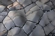 Small pebbles stuck between cracks in a flat basalt column structure on Djúpalónssandur.