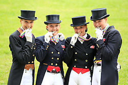 Prize giving Young Riders team competition :<br /> 2. Denmark : Catherine Dufour, Rikke BØllingtoft, Carina Nevermann Torup, Simone Ahlers Pedersen, chef d'equipe Hans Christian Matthiesen<br /> European Championship Dressage Young Riders - Broholm 2011