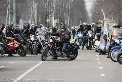 A parade of 1,000 bikes from Prospekt Sakharova in Moscow arrive at the Motor Spring and Custom and Tuning Show in Moscow, Russia. Saturday April 22, 2017. Photography ©2017 Michael Lichter.