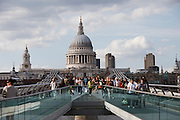 The London Millennium Footbridge is a pedestrian-only steel suspension bridge crossing the River Thames in London, England, linking Bankside with the City. Construction of the bridge began in 1998, with the opening in June 2000..Londoners nicknamed the bridge the Wobbly Bridge after crowds of pedestrians felt an unexpected swaying motion on the first two days after the bridge opened. The bridge was closed, and modifications eliminated the wobble entirely. It was reopened in 2002..The southern end of the bridge is near Globe Theatre, the Bankside Gallery and Tate Modern, the north end next to the City of London School below St Paul's Cathedral. The bridge alignment is such that a clear view of St Paul's south facade is presented from across the river, framed by the bridge supports