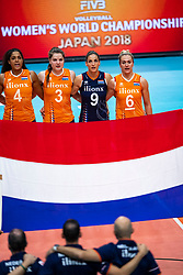 03-10-2018 NED: World Championship Volleyball Women day 5, Yokohama<br /> Argentina - Netherlands 0-3 / Celeste Plak #4 of Netherlands, Yvon Belien #3 of Netherlands, Myrthe Schoot #9 of Netherlands, Maret Balkestein-Grothues #6 of Netherlands