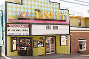 The art deco Yancey Theatre in the tiny village of Burnsville, North Carolina. Burnsville is the start of the Quilt Trail which honors handmade quilt designs of the rural Appalachian region.