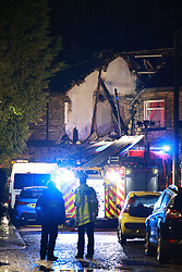 © Licensed to London News Pictures. 17/02/2021. Bury, UK. Residents are evacuated from their homes over fears of a gas leak. Scene where an explosion had taken place in a house on or near East View in Summerseat in Bury, Greater Manchester. Photo credit: Joel Goodman/LNP