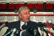 The head of British polices anti-terrorism squad, George Churchill-Coleman speaks at a press conference in the summer of 1991 in London, UK. Ex-Metropolitan Police Commander Churchill-Coleman OBE 1938-2015 headed the anti-terror squad for seven years as they battled the IRAs mainland bombing campaign of the late 1980s and early 1990s. He was killed in a motoring collision in January 2015.