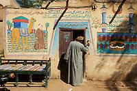 Egypte, Vallée du Nil, région de Louxor, rive ouest, peinture murale dans le village de Gournah // Egypt, Nile Valley, Luxor, Thebes, West bank of the River Nile, painting at Gourna village