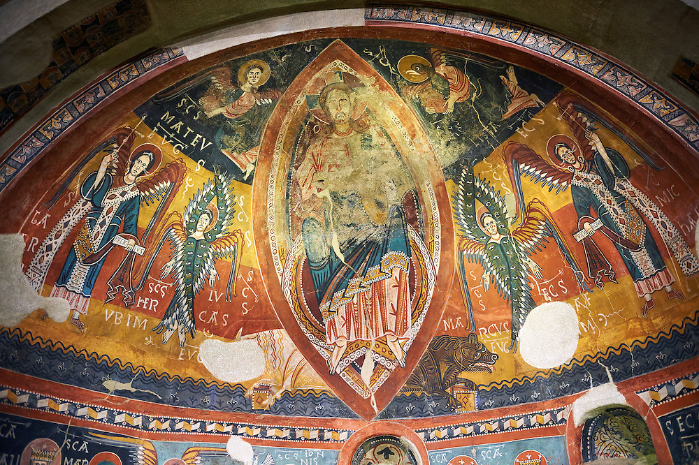 Twelfth century Romanesque frescoes of the Apse of Estaon depicting Christ Pantocrator ( In Majesty) surrounded by Byzantine style angels, from the church of Sant Eulalia d'Estaon, Vall de Cardos, Catalonia, Spain. National Art Museum of Catalonia, Barcelona. MNAC 15969 .<br /> <br /> If you prefer you can also buy from our ALAMY PHOTO LIBRARY  Collection visit : https://www.alamy.com/portfolio/paul-williams-funkystock/romanesque-art-antiquities.html<br /> Type -     MNAC     - into the LOWER SEARCH WITHIN GALLERY box. Refine search by adding background colour, place, subject etc<br /> <br /> Visit our ROMANESQUE ART PHOTO COLLECTION for more   photos  to download or buy as prints https://funkystock.photoshelter.com/gallery-collection/Medieval-Romanesque-Art-Antiquities-Historic-Sites-Pictures-Images-of/C0000uYGQT94tY_Y