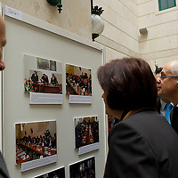 Ambassadors watch a photo exhibition during the press event where Hungarian Post introduces a stamp commemorating the  20th anniversary of the founding of the Visegrad Four group in Budapest, Hungary on February 15, 2011. ATTILA VOLGYI
