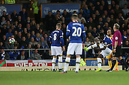 Romelu Lukaku of Everton ® scores his teams 1st goal from a free kick. Premier league match, Everton v Crystal Palace at Goodison Park in Liverpool, Merseyside on Friday 30th September 2016.<br /> pic by Chris Stading, Andrew Orchard sports photography.