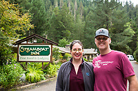 Melinda and Travis Woodward, new owners of the Steamboat Inn on the North Umpqua River. Cascade Mountains, Oregon.