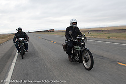 Paul Warrenfelt and Adrian Lockrey riding their Triumphs on the Motorcycle Cannonball coast to coast vintage run. Stage 11 (248-miles) from Billings to Great Falls, MT. Tuesday September 18, 2018. Photography ©2018 Michael Lichter.