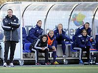 Fotball<br /> Norge<br /> 13.04.2013<br /> Toppserien<br /> Røa v Stabæk 1:4<br /> Foto: Morten Olsen, Digitalsport<br /> <br /> Øyvind Eide - trener Stabæk (L)<br /> Assistenttrener Vanja Stefanovic (2L)<br /> Elise Thorsnes i orange vest