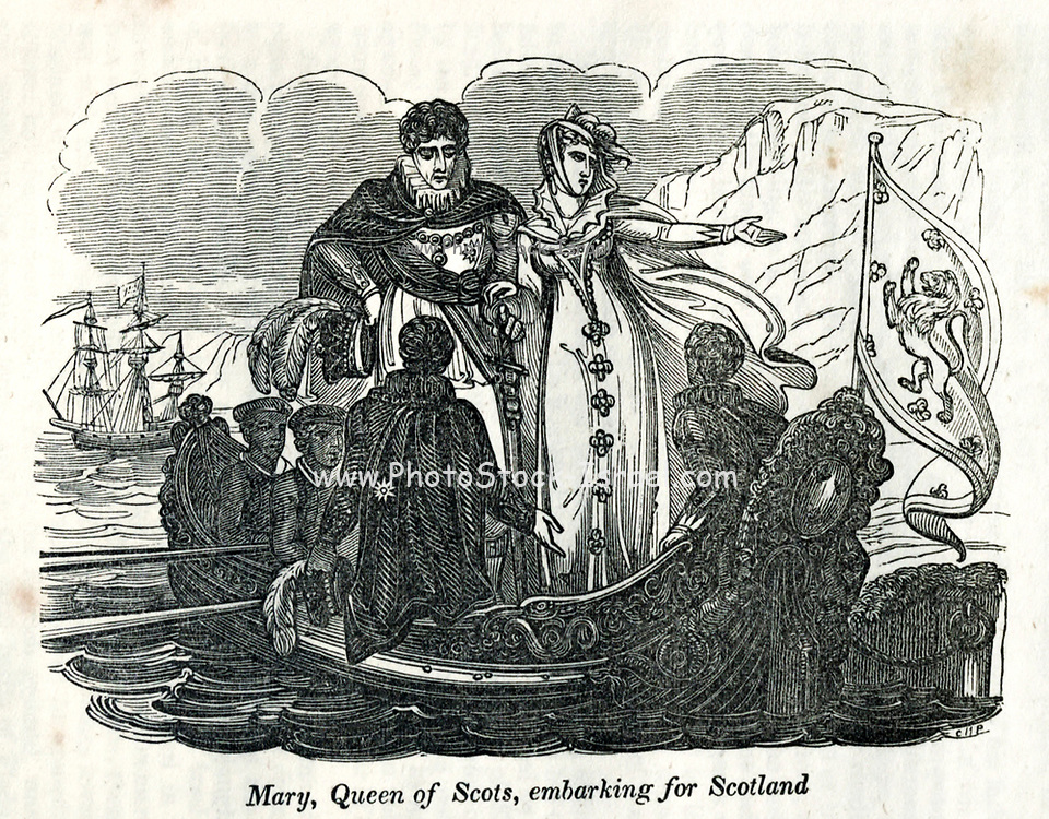 Mary, Queen of Scots, Embarking for Scotland from the book History of England : with separate historical sketches of Scotland, Wales, and Ireland; from the invasion of Julius Cæsar until the accession of Queen Victoria to the British throne. By Russell, John, A. M., Published in Philadelphia by Hogan & Thompso in 1844