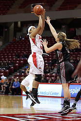 04 January 2015:  Mary Sims guarded by Hannah Shores during an NCAA MVC (Missouri Valley Conference) women's basketball game between the Southern Illinois Salukis and the Illinois Sate Redbirds at Redbird Arena in Normal IL