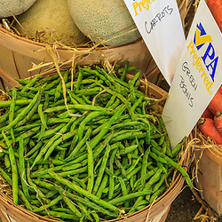 Harrosburg, PA, USA - January 13. 2015: Green beans in a basket on display at the Pennsylvania Farm Show.