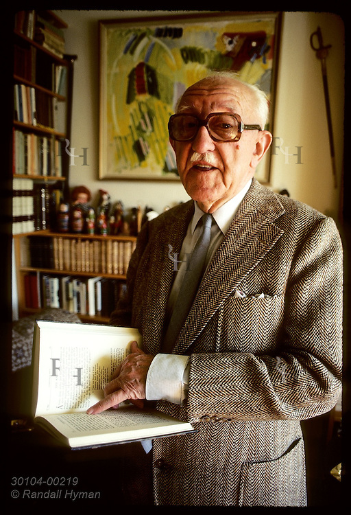 Nobel-Prize author Halldor Laxness reads from first edition of Sagas he dared to modernize. Iceland