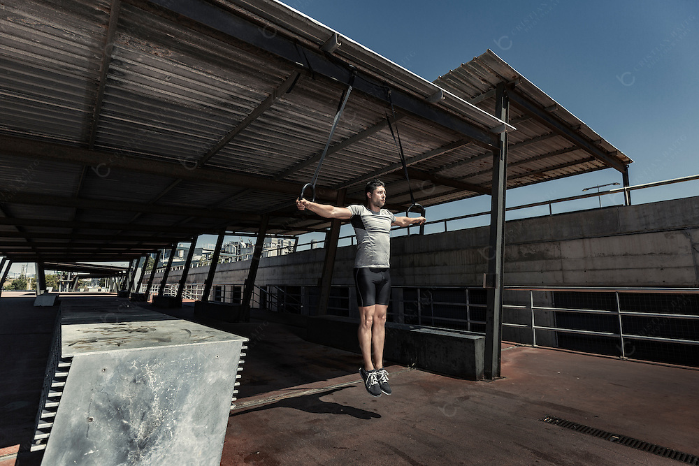 Calisthenics exercises with gymnastic rings
