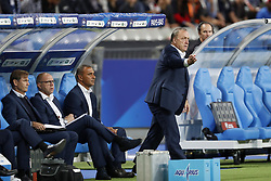 (L-R) goalkeeper trainer Frans Hoek of Holland, assistant trainer Fred Grim of Holland, assistant trainer Ruud Gullit of Holland, coach Dick Advocaat of Holland during the FIFA World Cup 2018 qualifying match between France and Netherlands on August 31, 2017 at Stade de France in Saint Denis,  France