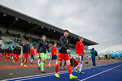 CARDIFF, WALES - Saturday, November 16, 2019: Wales' captain Morgan Boyes leads his side out before the UEFA Under-19 Championship Qualifying Group 5 match between Russia and Wales at the Cardiff International Sports Stadium. (Pic by Mark Hawkins/Propaganda)