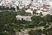 Greece, Athens, Temple of Hephaistos as seen from Acropolis Hill