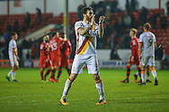 Bradford City midfielder Romain Vincelot (6)  applauds the fans at the end during the EFL Sky Bet League 1 match between Walsall and Bradford City at the Banks's Stadium, Walsall, England on 17 December 2016. Photo by Simon Davies.