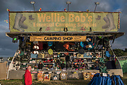 Wellie Bobs - not in massive demand due to the hot weather. The 2017 Glastonbury Festival, Worthy Farm. Glastonbury, 2 June 2017