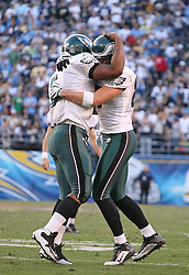 SAN DIEGO, CA - NOVEMBER 15: Donovan McNabb and Brent Celek of the Philadelphia Eagles during a game against the San Diego Chargers on November 14, 2009 at Qualcomm Stadium in San Diego, California. The Chargers won 31-23. (Photo by Hunter Martin)