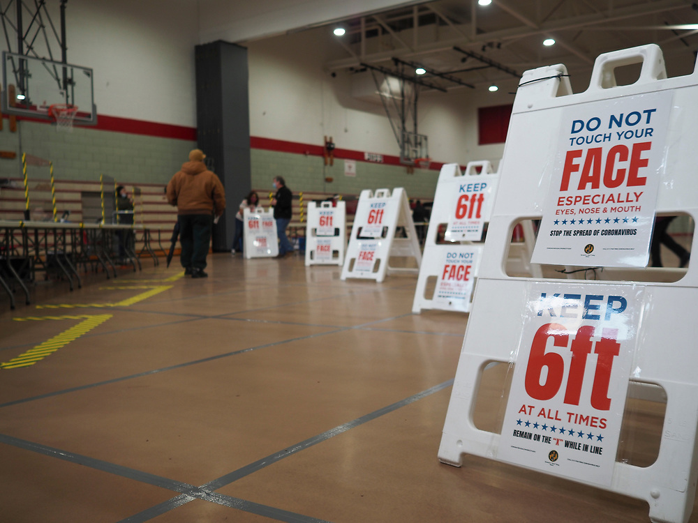 Signs remind voters of precautions they need to take to safeguard against the spread of COVID-19 when they vote. On April 28, 2020 a special election was held to fill the remainder of the term in the US House of Representatives for Maryland's 7th congressional district. Elijah Cummings, the incumbent representative, died in office on October 17, 2019.
